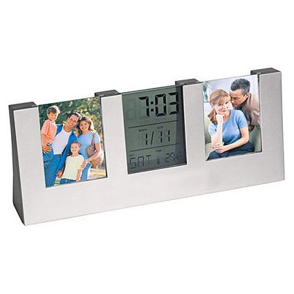 Часы с термометром, датой и двумя фоторамками