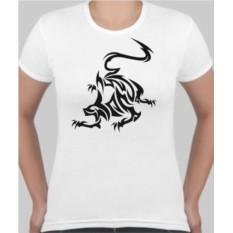 Женская футболка Тату Кошка в прыжке