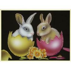Картина с кристаллами Swarovski Пасхальные кролики