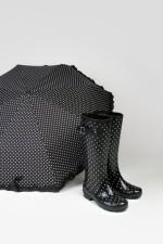 Женские резиновые сапоги черные Горох