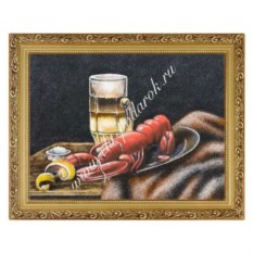 Натюрморт из каменной крошки Омар с пивом