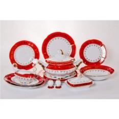 Фарфоровый сервиз Мария - Лист красный из 27 предметов
