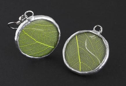 Серьги круглые Зеленые листья (пара)