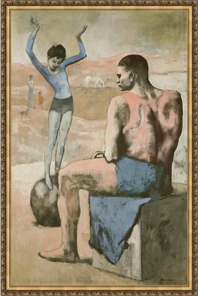 Репродукция на холсте Пикассо «Девочка на шаре» в багете