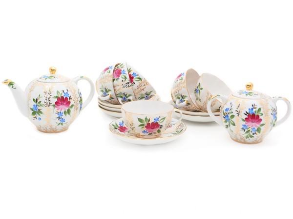 Сервиз чайный фарфоровый, рисунок Золотые травки