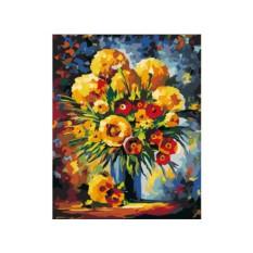 Картины по номерам «Желтые и красные цветы»