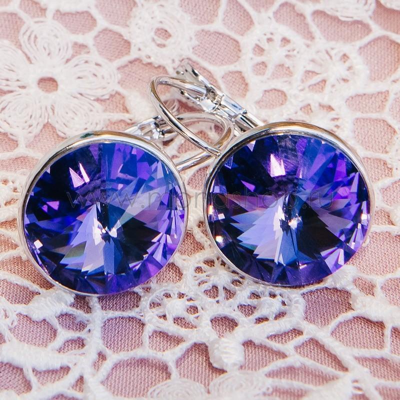 Серьги с фиолетовыми кристаллами Сваровски «Чародейка»