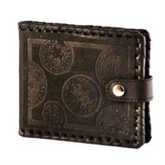 Коричневый кожаный кошелек с карманом для мелочи