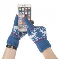 Синие сенсорные перчатки Олени