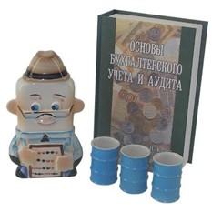 Штоф Бухгалтер со стопками в футляре-книге