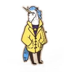 Значок WafWaf Единорог в пальто