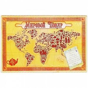 Стеклянная разделочная доска «Мировой повар»