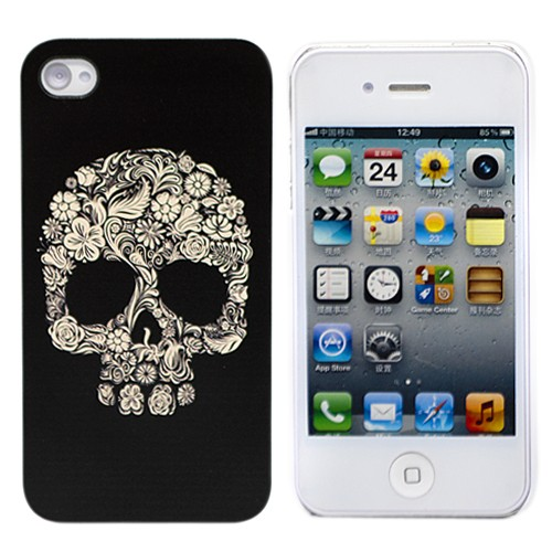Чехол iPhone 4\4s Flower scull (черный)