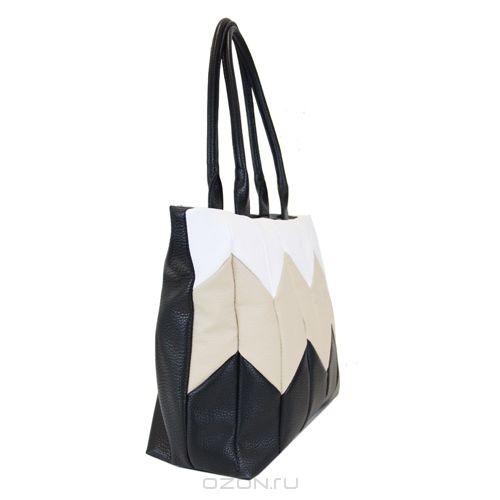 Сумка женская Antan, цвет: черный, белый, бежевый.