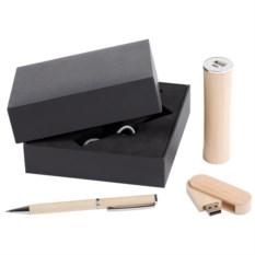Набор Wood из аккумулятора, флешки и ручки