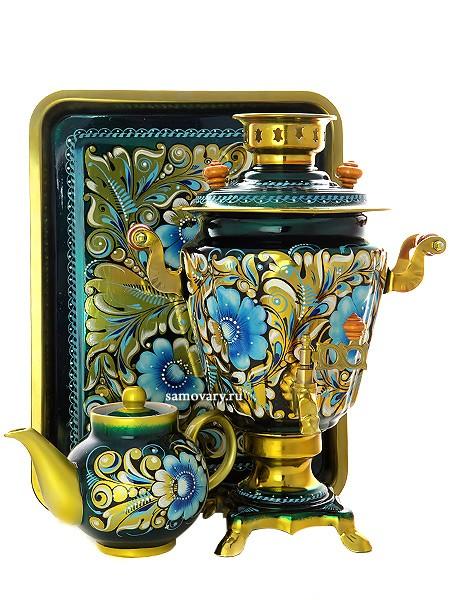 Набор: самовар 3 л с росписью на синем фоне, поднос и чайник
