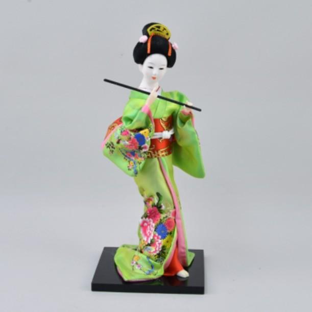 Статуэтка Гейша с флейтой в зеленом кимоно