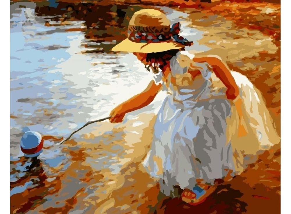 Картины по номерам «Уронила в воду мячик»