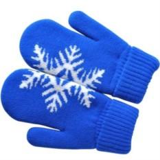 Синие варежки Сложи снежинку! с теплой подкладкой