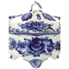 Керамическая супница с росписью гжель Дубок