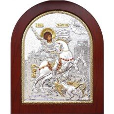 Икона в серебряном окладе Георгий Победоносец