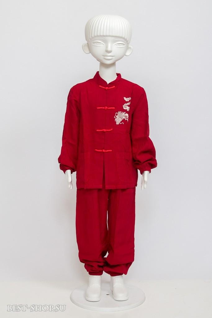 Детский костюм ушу, красный