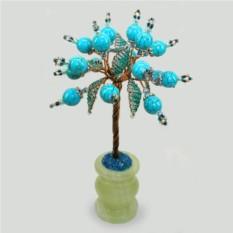 Райское дерево из бирюзы в вазочке из оникса