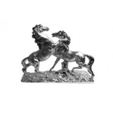 Композиция Пара лошадей, серебро матовое