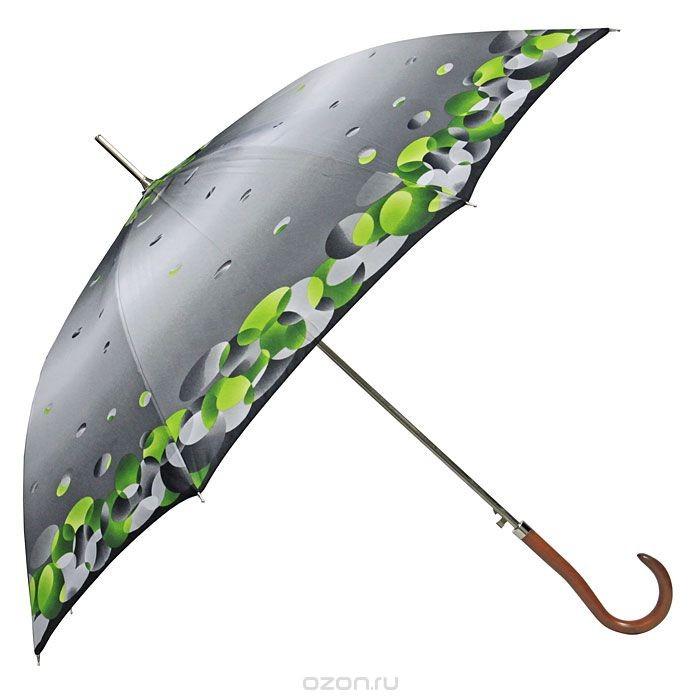 Женский серо-зеленый зонт-трость полуавтомат Edmins