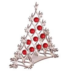Сборная елка с красными шариками Новогодний ажур
