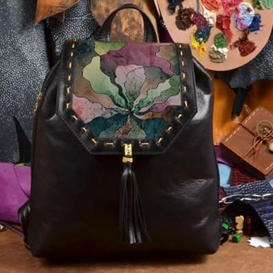 Женский кожаный рюкзак ручной работы Прекрасные цвета