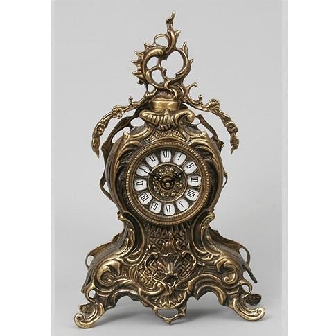 Часы бронзовые каминные с завитком
