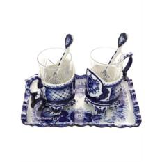 Чайный набор на 2 персоны с Гжельской росписью Премьер