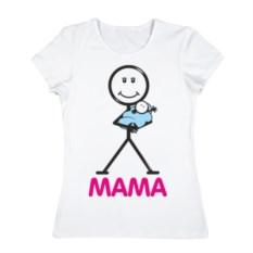 Женская хлопковая футболка Мама (цвет: белый)