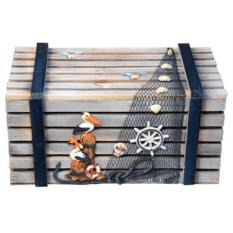 Набор из 4 сундуков из дерева и ракушечника Морские