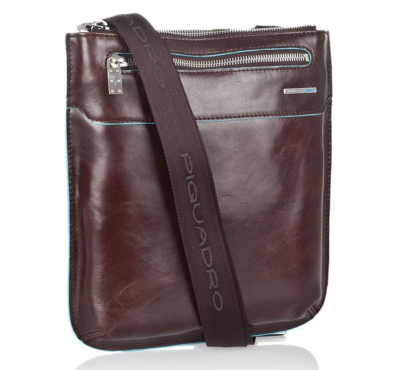 Коричневая мужская сумка с ремнем Piquadro Blue Square