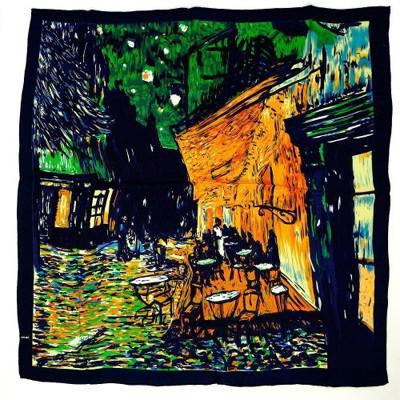 Платок зеленый «Кафе в Париже» Ренуар