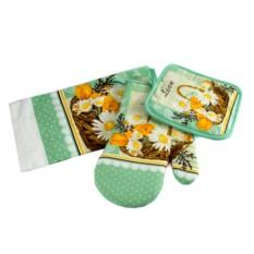 Набор кухонного текстиля: полотенце, прихватка, варежка