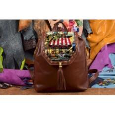 Коричневый кожаный рюкзак с принтом Полосатый зонтик