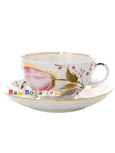 Чайный сервиз форма Тюльпан с рисунком Розовые тюльпаны