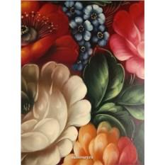 Поднос с росписью Цветы на бордовом фоне (Жостово)
