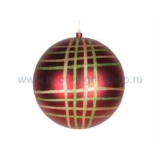 Елочная игрушка Шар в клетку красного цвета