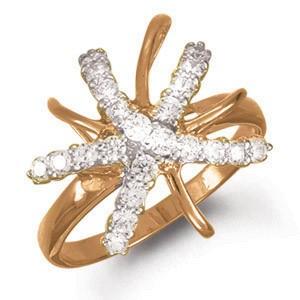 Кольцо из красного золота с цирконом