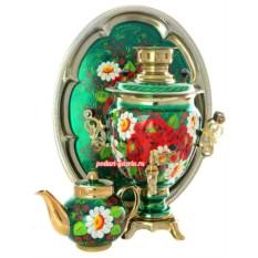 Набор для чаепития Букет на зеленом фоне