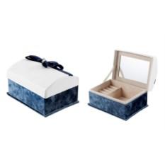 Бело-синяя шкатулка для ювелирных украшений
