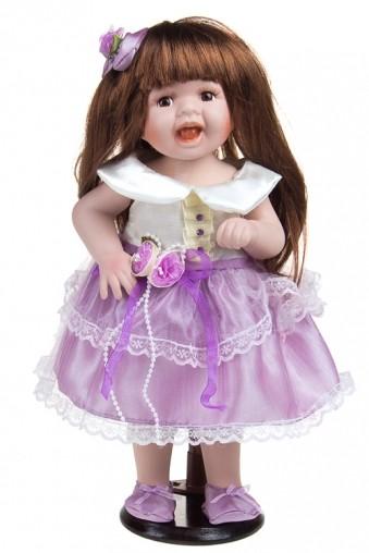Фарфоровая кукла Шатенка в лиловом