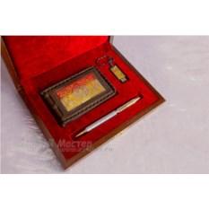 Набор «Визитница кожаная, ручка, флешка на 16 гБ»