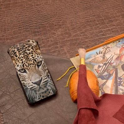 Кожаный чехол-флип для iPhone 6S/6 с фото Леопард