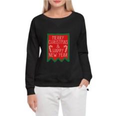 Черный женский свитшот Merry Christmas