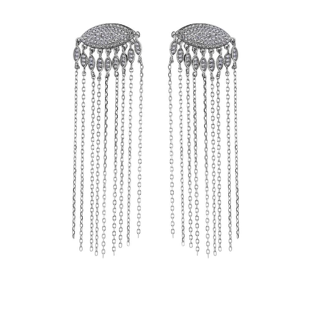 Элегантные серебряные серьги-нити  с фианитами